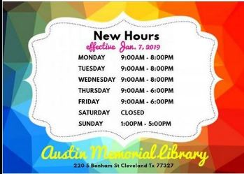 New Library Hours 2019